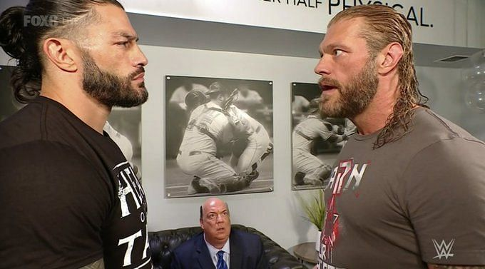 Edge and Roman Reigns in an unlikely moment of truce