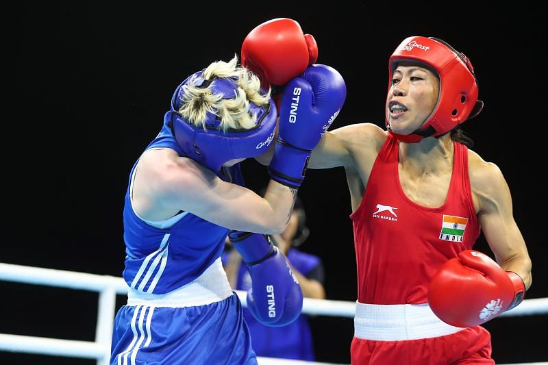 Mary Kom of India (Red) at the Gold Coast 2018 Commonwealth Games in April 2018
