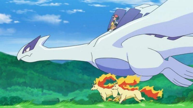 Ash Ketchum riding on Lugia