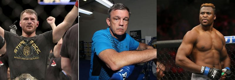 Teddy Atlas (Center) shares paths for Stipe Miocic (Left) and Francis Ngannou