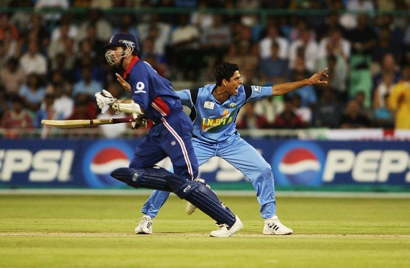 Ashish Nehra celebrates a wicket.