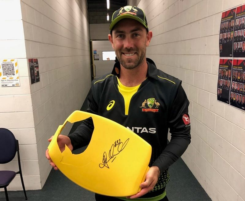 Glenn Maxwell with the broken seat. Pic: cricket.com.au