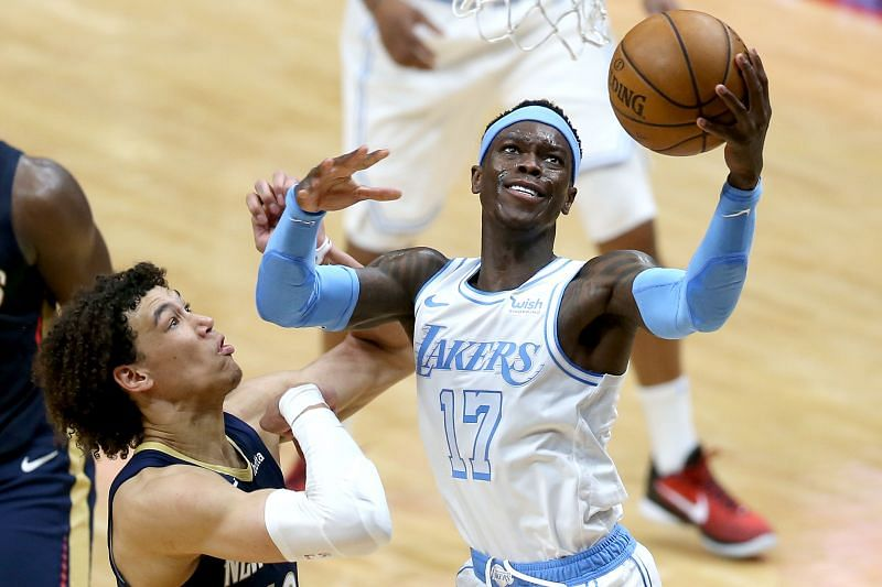 Dennis Schroder # 17 shoots Jaxson Hayes # 10. (Photo by Sean Gardner / Getty Images)