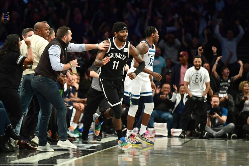 Kyrie Irving of the Brooklyn Nets in NBA action against the Minnesota Timberwolves