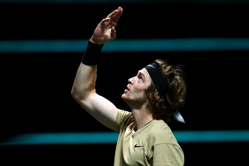 Andrey Rublev reacts after winning the ATP 500 event in Rotterdam