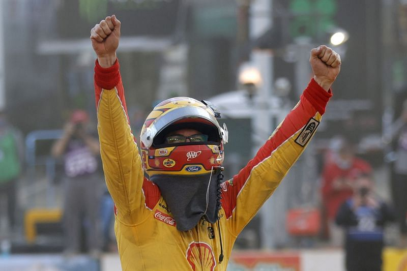 Joey Logano wins the first Cup dirt race since Richard Petty. (Photo by Jared C. Tilton/Getty Images)