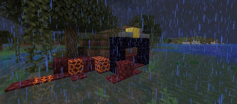 Shown: An ominous Ruined Portal. It does not seem to have a chest... (Image via Minecraft)