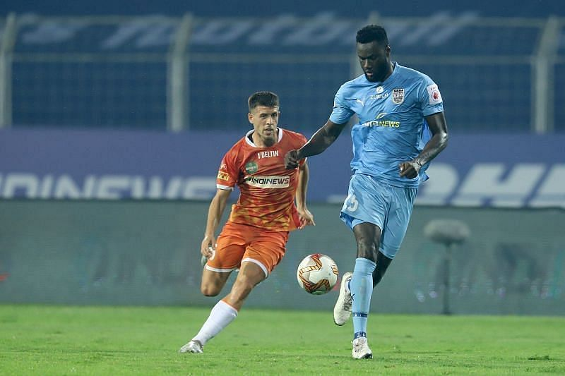Mourtada Fall (R) was a rock at the back for Mumbai City FC. (Image: ISL)