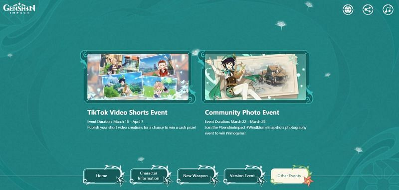 The TikTok and Photography event descriptions with release dates in Genshin Impact (Image via miHoYo)