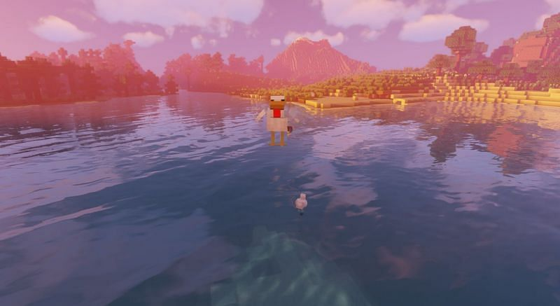 Shown: A chicken attempting to fly (Image via Minecraft)