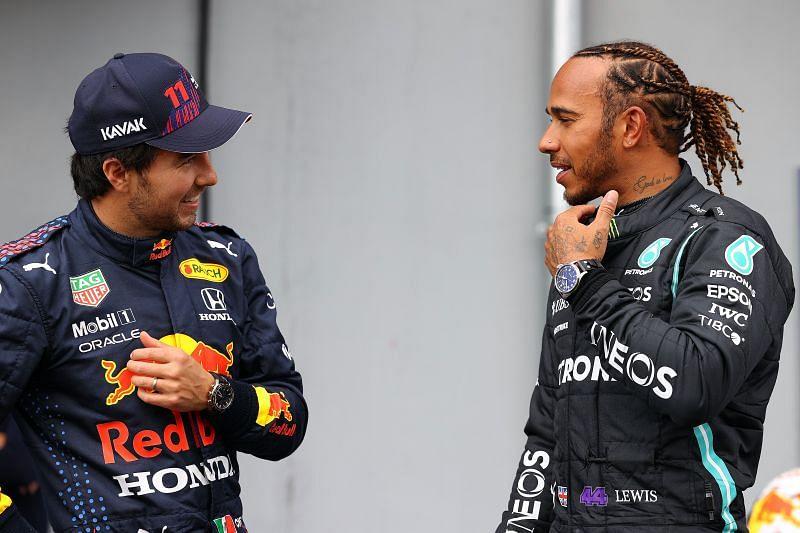 F1 Grand Prix of Emilia Romagna - Qualifying Hamilton (R) beat Perez for pole. (Photo by Mark Thompson/Getty Images)