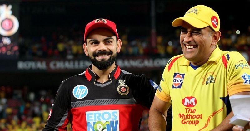 RCB captain Virat Kohli and CSK captain MS Dhoni