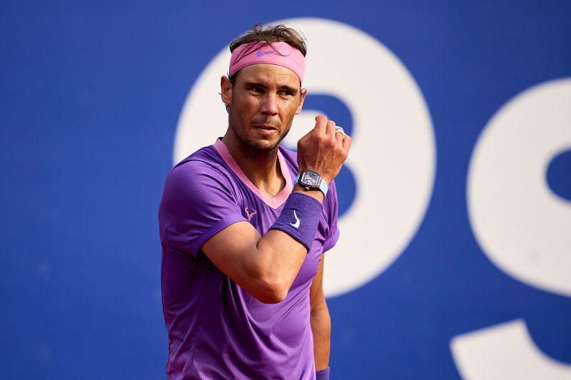 Rafael Nadal looks on during his Round of 16 match against Kei Nishikori
