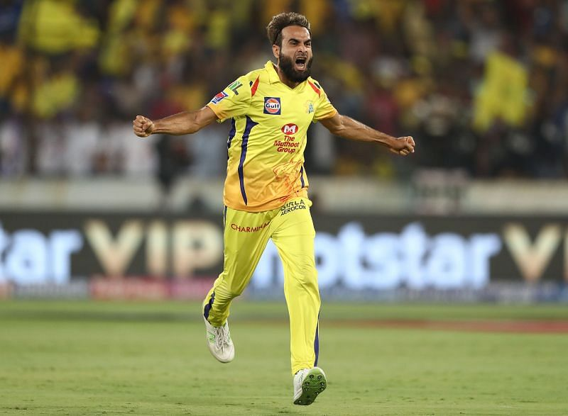 Imran Tahir in action for CSK.