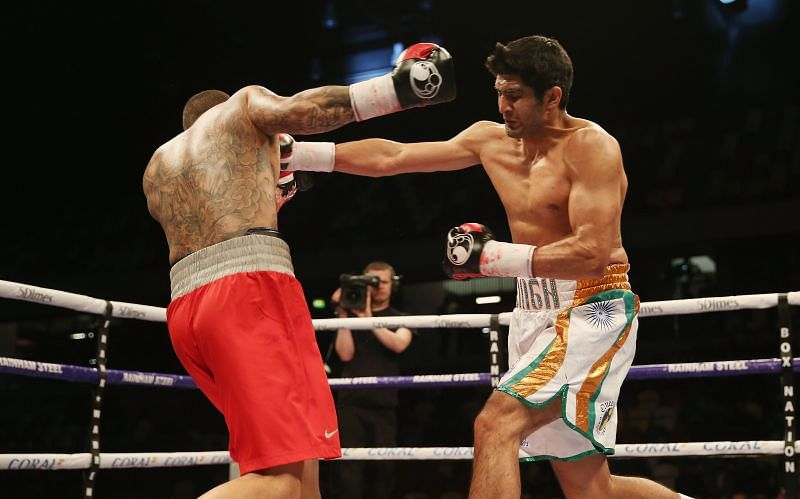 Vijender Singh (right) won a Bronze medal at the 2008 Beijing Olympics