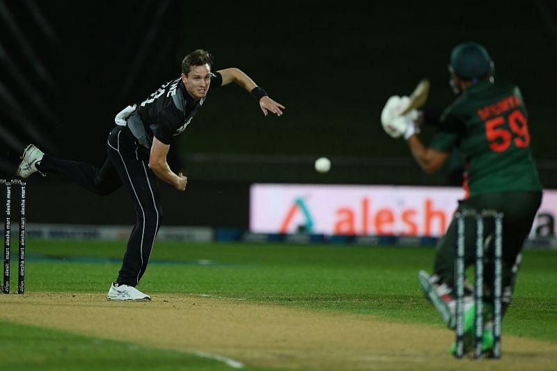 Adam Milne in action against Bangladesh.