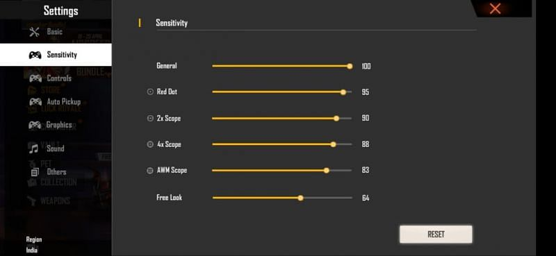 Best sensitivity settings for low-end Android devices after Free Fire