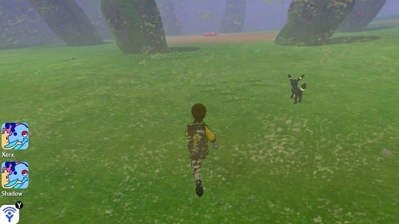 Carefully search for Umbreon in the standing stone area at the top of the hill. Make sure to check that the area has a Sandstorm!