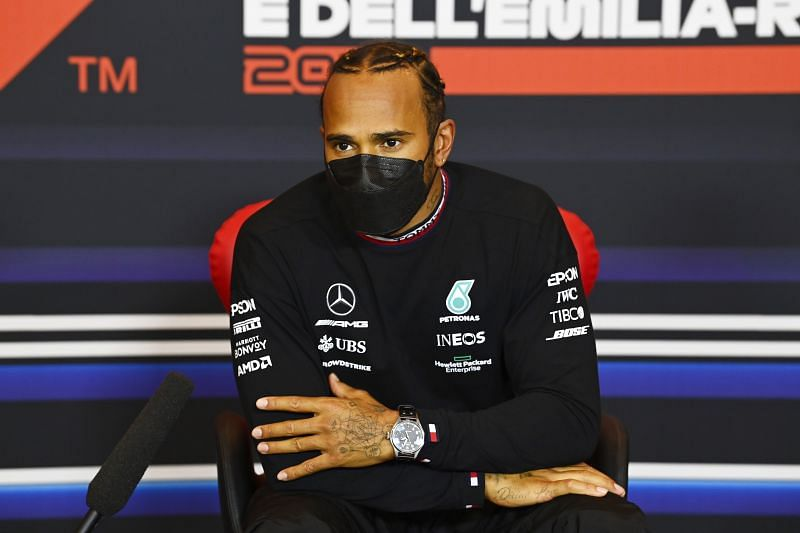 Pole position qualifier Lewis Hamilton of Mercedes at the post qualifying press conference ahead of the 2021 Imola GP. (Photo by Mark Sutton - Pool/Getty Images)