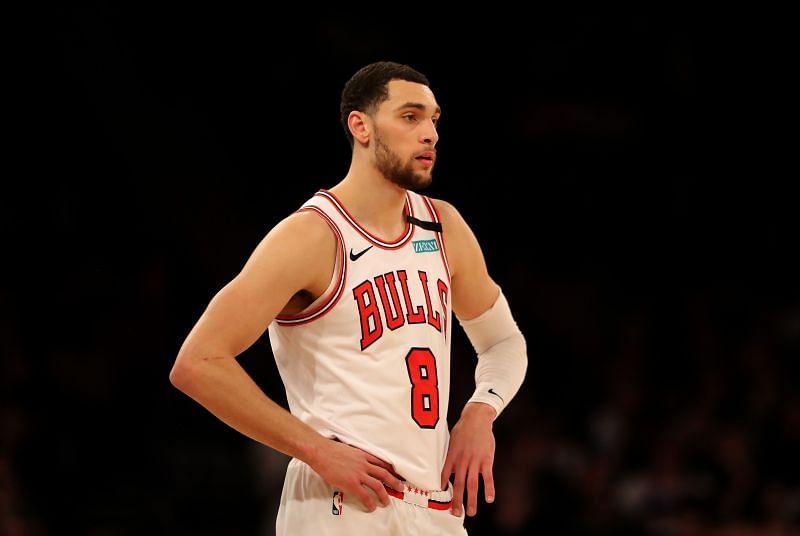 Zach LaVine (#8) of the Chicago Bulls