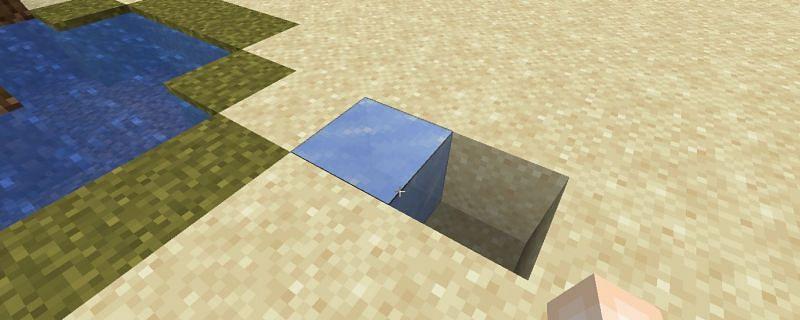 Block of ice prior to being broken (Image via Minecraft)