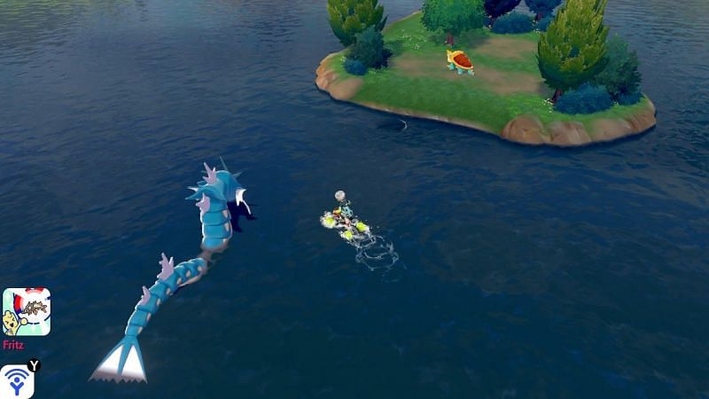 Travel out onto the water and look for Gyarados. Its massive body will be easy to see on the water.