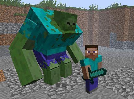 Mutant zombie next to Steve (Image via minecraft-modsmc.wikia.com)