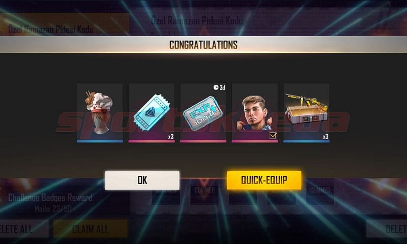 Luqueta Character, Time Travellers Weapon Loot Crate, 3x Diamond Royale Voucher, and Double EXP Card