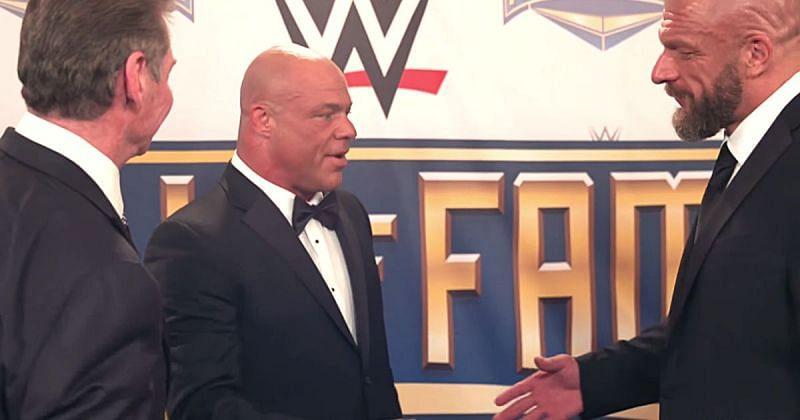 Vince McMahon, Kurt Angle and Triple H.