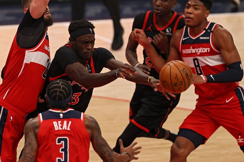 Pascal Siakam #43 passes the ball against the Washington Wizards