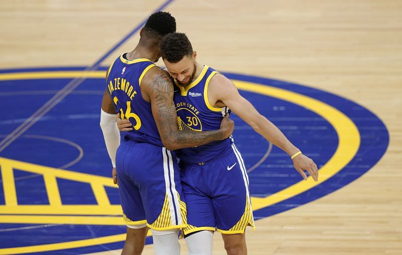 Golden State Warriors teammates Steph Curry and Kent Bazemore