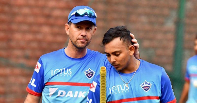 Ricky Ponting (L) and Prithvi Shaw (R) during a training session [Credits: Scroll]