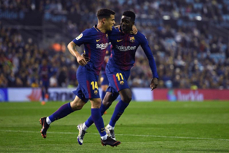 Philippe Coutniho (L) and Ousmane Dembele