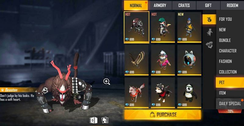 Pets can generally be purchased from the in-game shop