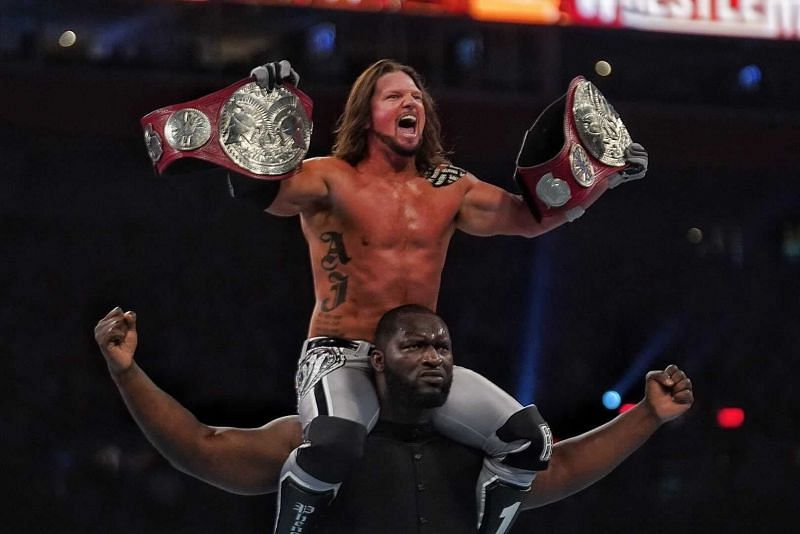 AJ Styles and Omos after winning the WWE RAW Tag Team Championship