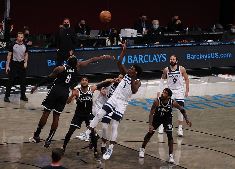 Anthony Edwards #1 of the Minnesota Timberwolves in action