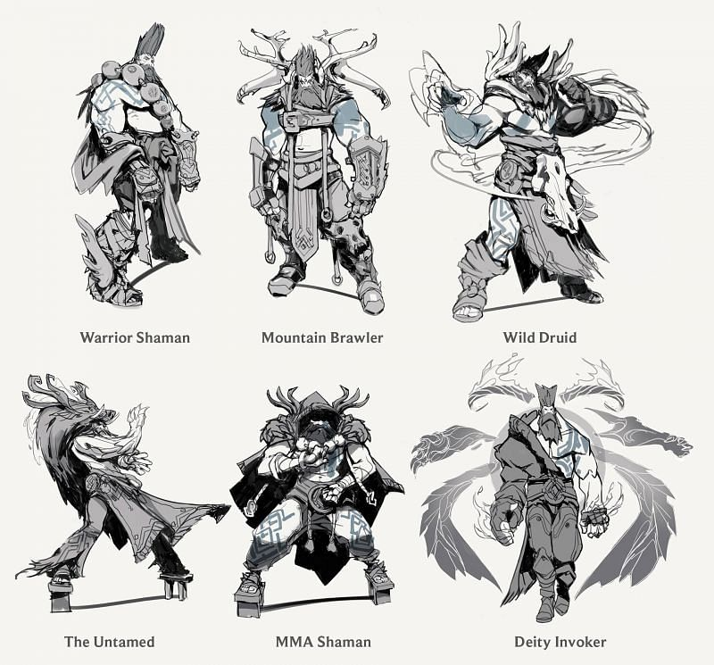 Some early rough sketches of reworked Udyr by RiotEarp (Image via Riot Games - League of Legends)