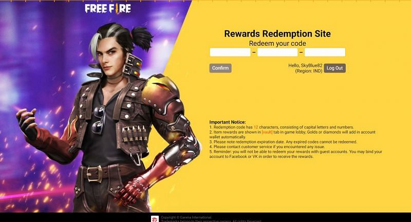 Players must enter the redeem code