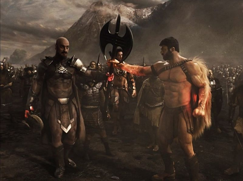 Zeus and Ares fighting Darkseid in Zack Snyder