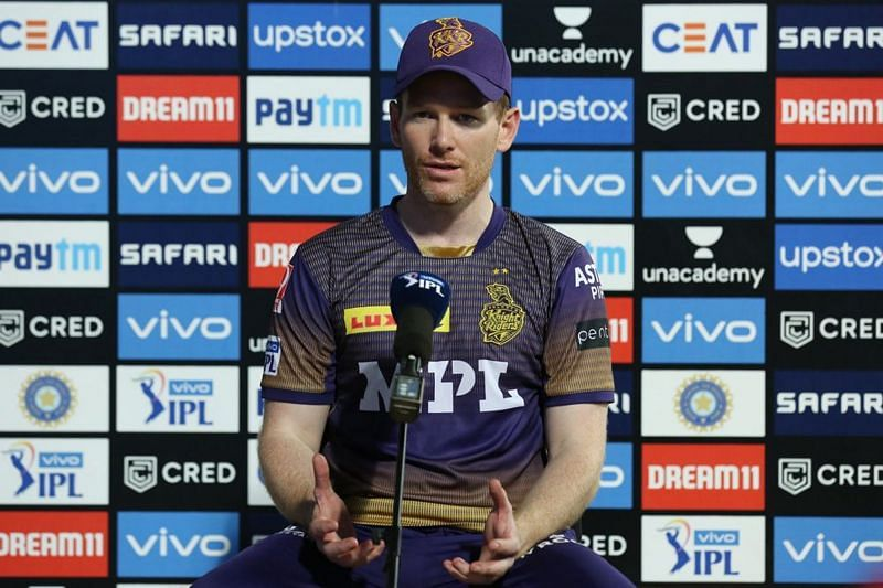 Eoin Morgan at a press conference after KKR