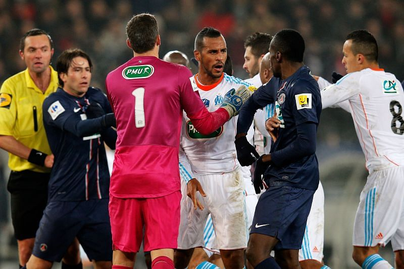 PSG and Marseille players get in a scuffle during the 2019 French Cup final