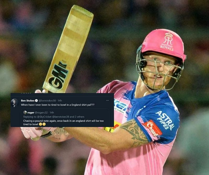 Ben Stokes hit back at a troll ahead of IPL 2021