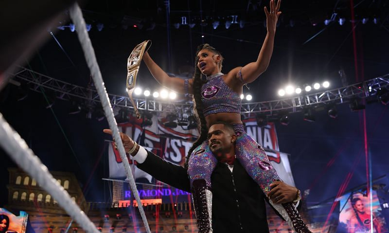 Bianca Belair celebrates her victory at WrestleMania with husband Montez Ford