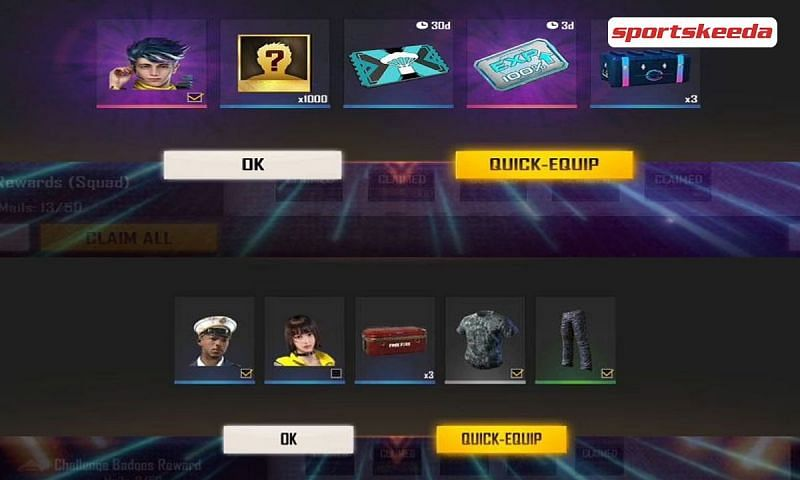 Rewards offered by Free Fire