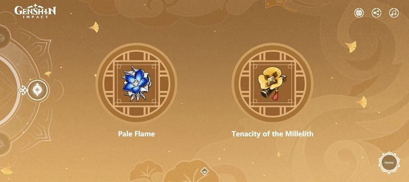 The Pale Flame and Tenacity of the Millelith artifact sets (Image via Genshin Impact)