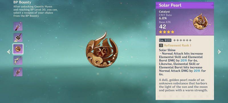 Genshin Impact Battle Pass reward: Solar Pearl