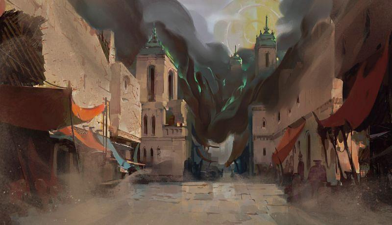 The Black Mist engulfing a village of Shurima (Image via Riot Games - League of Legends)