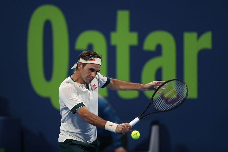 Roger Federer in action at the Doha event last month