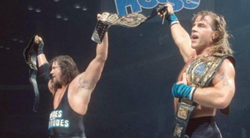 Shawn Michaels and Diesel with the WWE Tag Team Championships
