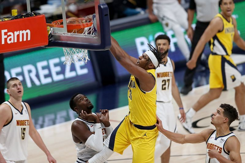 Indiana Pacers center Myles Turner rises up for a dunk